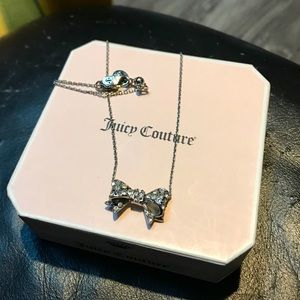 Juicy Couture Dainty Bow Necklace w/ slider silver